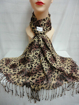 Scarf Pattern - LEOPARD PRINT PATTERN LIGHT WEIGHT WRAP OR SCARF COLOR BROWN