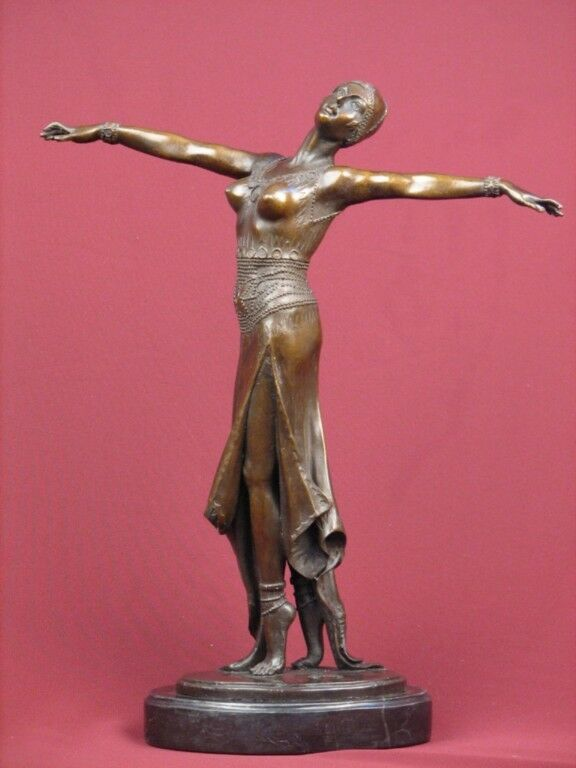 SIGNED HANDCRAFTED BRONZE STATUE ART DECO DANCER SCULPTURE ON MARBLE BASE