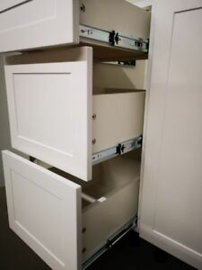 White Kitchen & Bathroom Cabinets for Rental Apt, SOFT Close