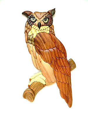 Great Horned Owl Animals - Great Horned Owl Bird Intarsia Wood Wall Art Home Decor Plaque Lodge New