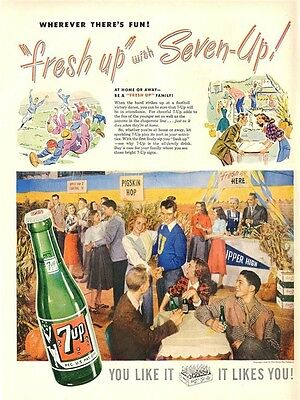 1948 Seven-Up PRINT AD 7 up Soda Vintage Fun High School Dance theme Great - High School Dance Themes