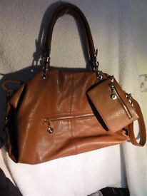 Beautiful Jimmy Choo Tan Leather Tote Shoulder Bag with Purse Excellent Condition