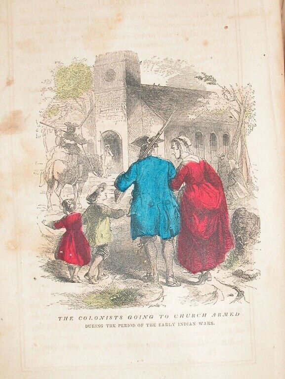 1857 ENGRAVING NEW ENGLAND COLONITS GO TO CHURCH ARMED