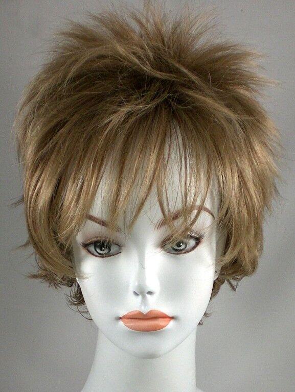 Short Straight Brown Wispy N Spiky Wig W Long Bangs Ebay