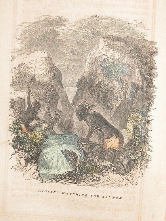 1857 ENGRAVING AMERICAN NORTHWEST INDIAN SALMON FISHING
