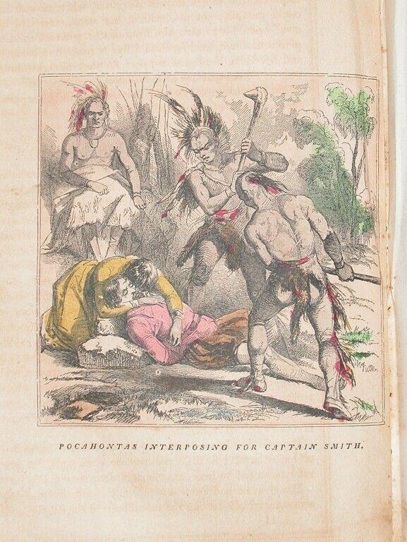 1857 ENGRAVING VIRGINIA HISTORY POCAHONTAS SAVES SMITH