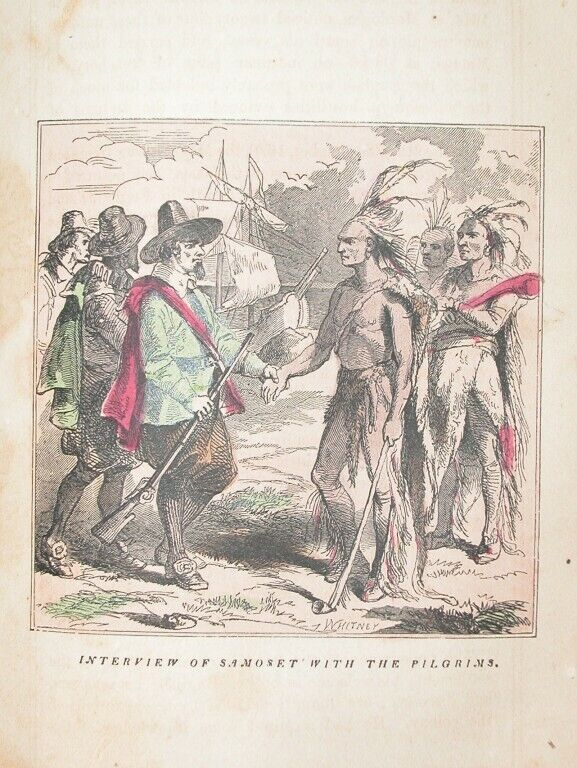 1857 ENGRAVING AMERICAN INDIAN NEW ENGLAND PILGRAMS PLYMOTH MASSACHUSETTS HISTOR