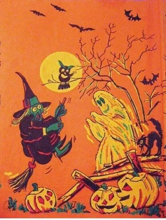 """Vintage Halloween CREPE PAPER Tablecloth WITCH Ghost CAT Owl 96"""" long × 54"""" wide"""