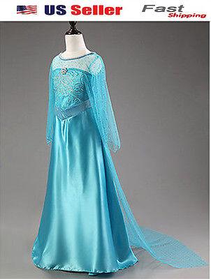 US STOCK ! Kids Girls Frozen Queen Elsa Princess blue Party Dress Gown K61 - Child Elsa