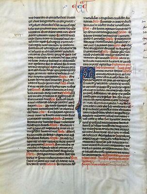 BIBEL HANDSCHRIFT BIBLIA LATINA PERGAMENT FRANKREICH FLEURONNÉ GRUSCH UM 1250