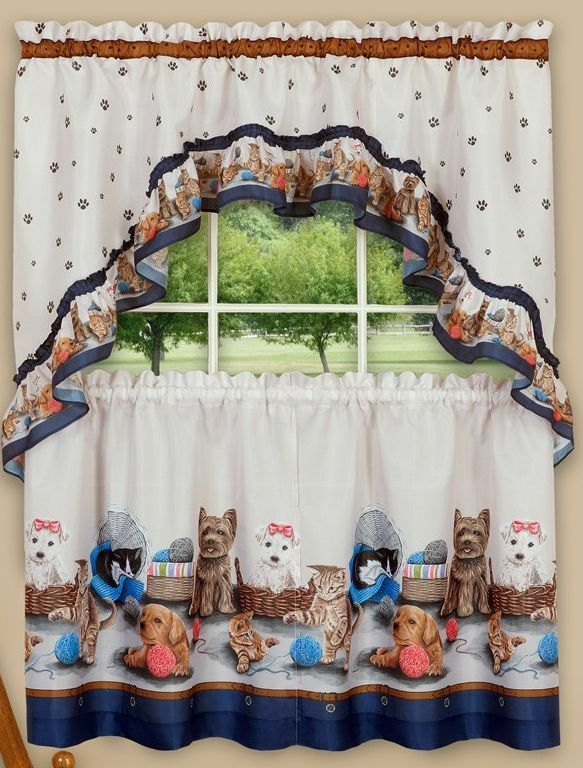 Kitchen Curtains Set: 2 Tiers  & Swag PRECIOUS PETS, CATS &