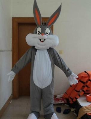 Bugs Bunny Rabbit Mascot Costume Cartoon Character Adult Suit Fancy Dress NEW - Bugs Bunny Adult Costume