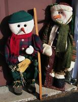 REDUCED 2 Tall Snow People $5.00 Pair