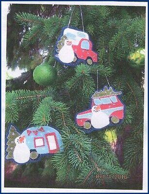 Winter Glamping Felt Ornament Sewing Pattern Snowman Truck Camper RV Trailer  Felt Ornaments Patterns