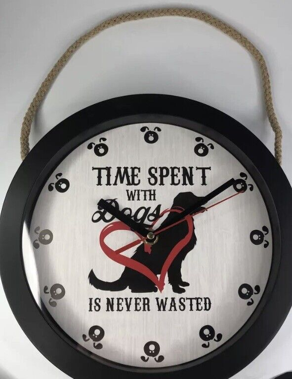 """Clumsy Pets """"Time Spent With Dogs Is Never Wasted"""" Pet Decorative Wall Clock"""