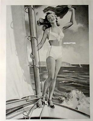 VINTAGE PIN-UP GIRL SEXY SHORTS & HIGH HEELS SAILING BOATING HOT PHOTO OCEAN ART