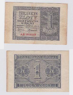 1 Zloty Banknote Emissionsbank in Polen Krakau 1.3.1940 (117486)