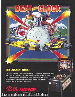 Bally BEAT THE CLOCK Original 1985 NOS Flipper Game Pinball Machine Promo Flyer