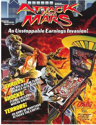Attack From Mars Pinball FLYER 1995 Original NOS Bally Aliens Martians Art Sheet