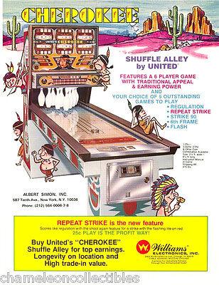 United CHEROKEE Original 1977 NOS Shuffle Alley Bowing Arcade Game Sales Flyer