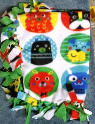 NEW Handmade Puppy Dog Blanket ~ Multi Cute Dog Faces in Circles ~ Bright