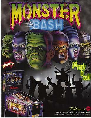 Williams MONSTER BASH 1998 Original NOS Flipper Game Pinball Machine Sales Flyer