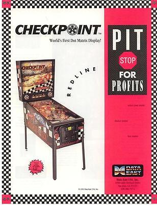 CHECKPOINT Pinball Machine Flyer 1991 Original NOS Data East Auto Racing Artwork