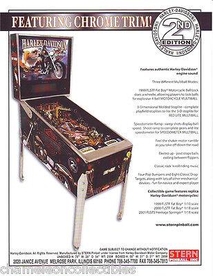Stern HARLEY DAVIDSON 2nd Edition Original 2002 NOS Pinball Machine Sales Flyer