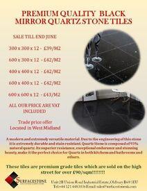 SALE SALE SALE Premium Quality Black Mirror Quartz Stone Tiles
