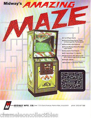 AMAZING MAZE By MIDWAY 1975 NOS ORIG VIDEO ARCADE GAME MACHINE FLYER BROCHURE