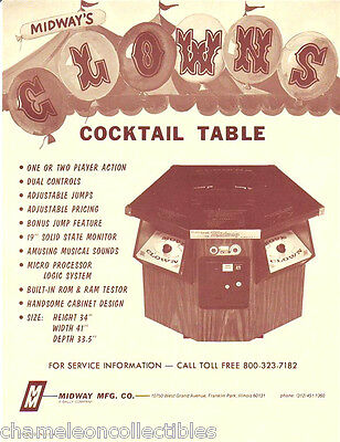 CLOWNS COCKTAIL By MIDWAY 1978 ORIG NOS VIDEO ARCADE GAME SALES FLYER BROCHURE