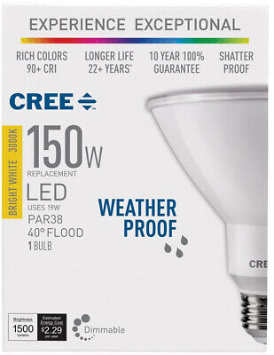Weather Proof 150W Flood LED Light Bulb Bright White Dimmable Shatter Proof 10yr 1 Light 150w Bulb