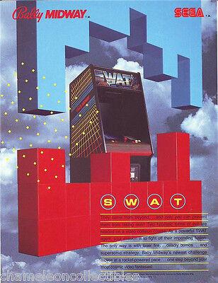 SWAT By BALLY MIDWAY 1984 ORIGINAL NOS VIDEO ARCADE GAME MACHINE FLYER BROCHURE