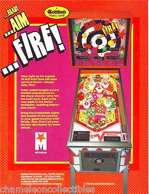 READY AIM FIRE By GOTTLIEB 1983 ORIG NOS PINBALL MACHINE PROMO SALES FLYER