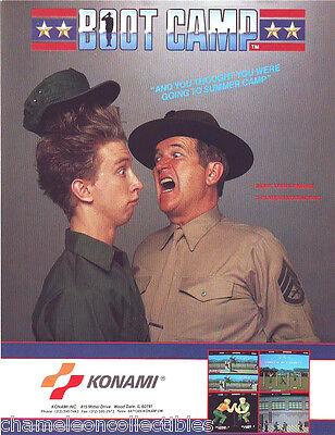 BOOT CAMP Arcade FLYER Original KONAMI 1987 Video Game Promo Artwork 2-Sided