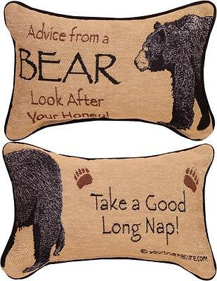 """ADVICE FROM A BEAR- Look After Your Honey Pillow 12.5"""" x 8.5"""", by Manual Weavers"""