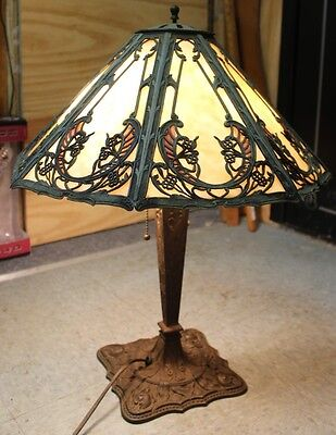 Antique Art Deco Ornate? Beige Stained Slag Glass Metal Table Lamp 22