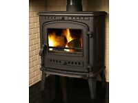 Orlando 8kw multifuel Stove with a single front door and a side door for longer logs