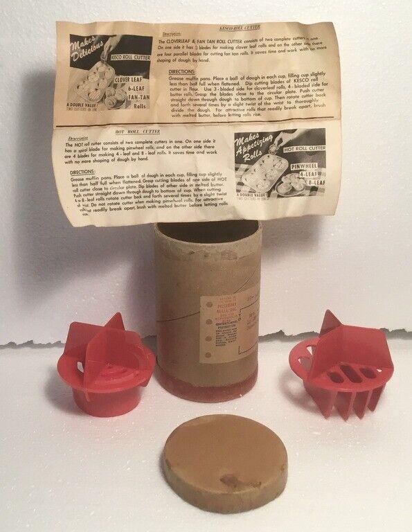 HTF KESCO ROLL CUTTERS Cloverleaf Fan Tail Pinwheel Leaf Cutter Instructions Box