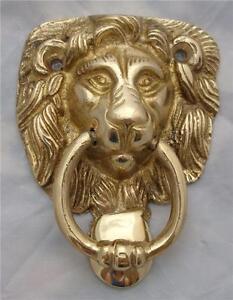 SOLID BRASS LION HEAD DOOR KNOCKER 92mm HIGH x 68mm WIDE