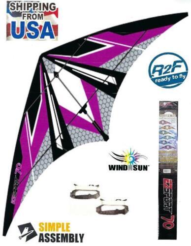Stunt Kite EZ SPORT 70 Dual Control + RipStop + Dacron Lines + CONTROL STRAPS