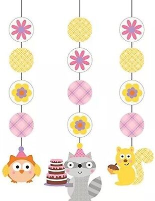Happi Woodland Girl Owl (3) Hanging Cutouts Pink Birthday Party Supplies Ceiling (Woodland Birthday Party Supplies)