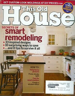 2007 This Old House Magazine  Smart Remodeling Built Up Moldings Kitchen Offices