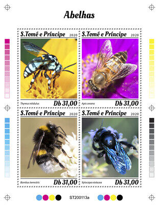 Sao Tome & Principe Bees Stamps 2020 MNH Honey Bee Insects 4v M/S