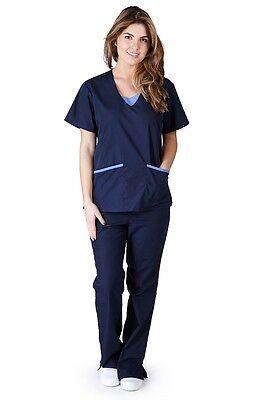 Medical Nursing Women Scrub NATURAL UNIFORMS Contrast JERSEY Full Set 1077