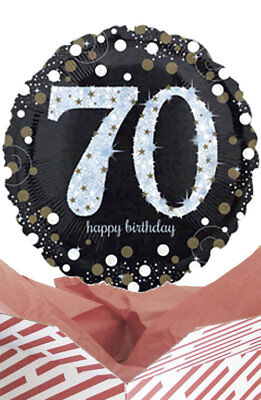 70th Birthday Black & Gold Balloon in a Box Gift Delivered. Personalised Message