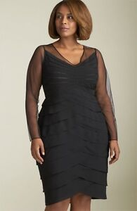 NEW Adrianna Papell Shutter Pleat Black Cocktail Dress size 16
