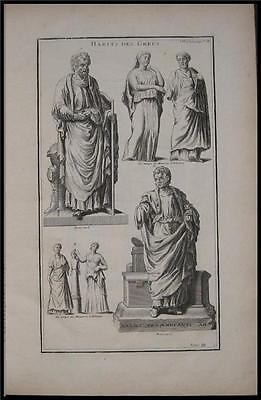 1719 Antique Print Outfit Cloth Fashion Ancient Greek