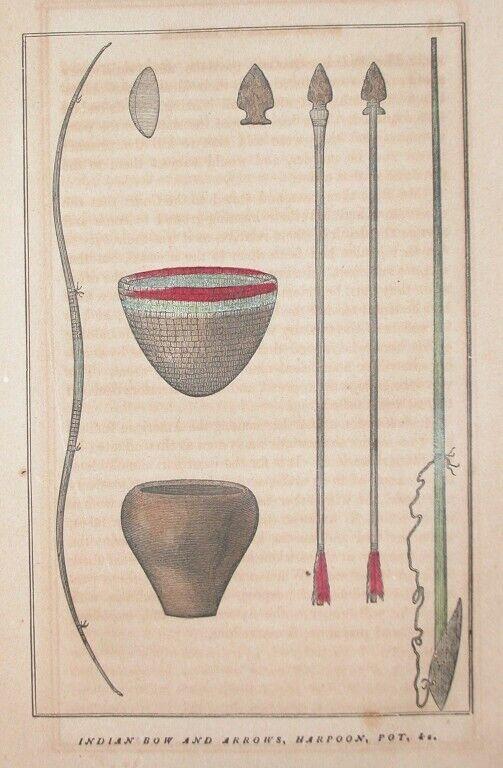 1857N.  AMERICA INDIAN ENGRAVING BOW ARROWS HARPOON POT BASKETS ARTIFACT HISTORY