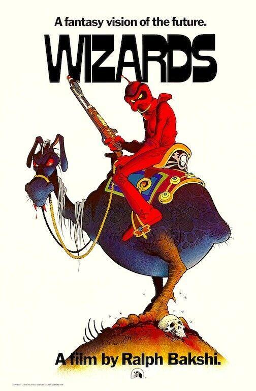 Wizards 1977 POSTER Ralph Bakshi Animation Rare Large